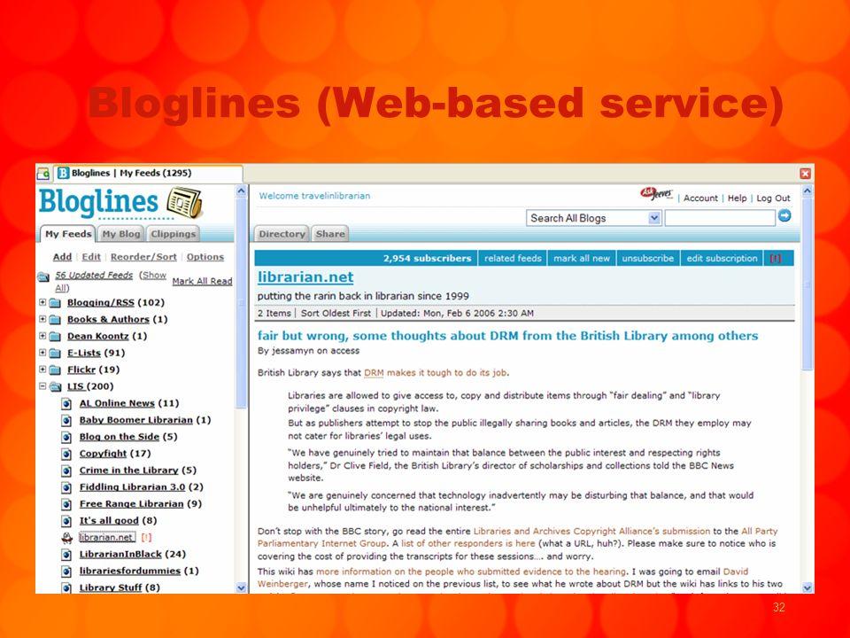 32 Bloglines (Web-based service)