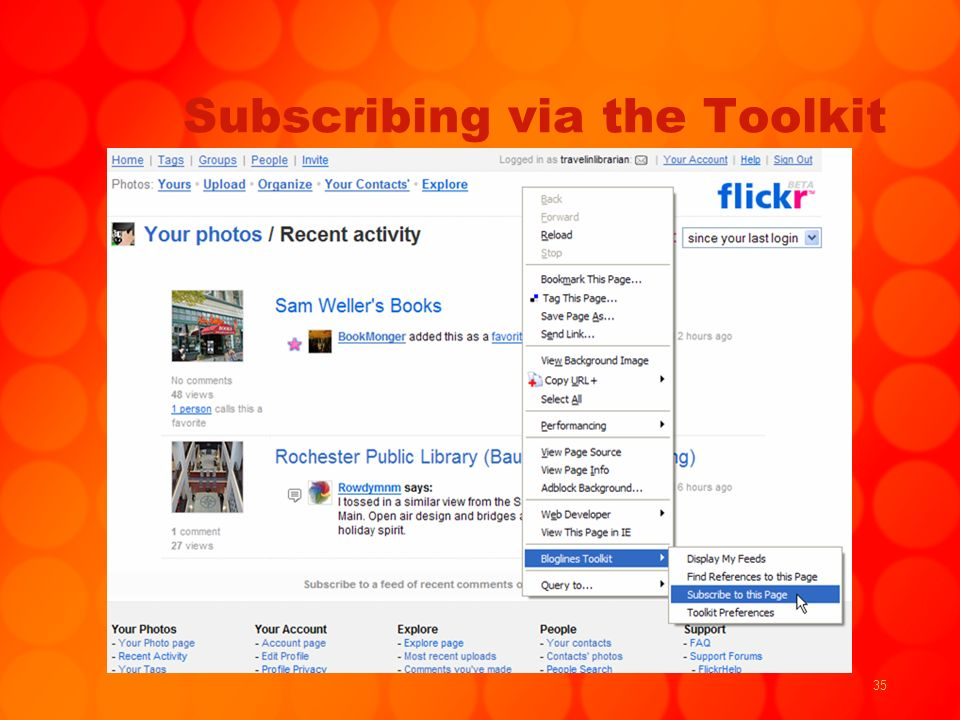 35 Subscribing via the Toolkit