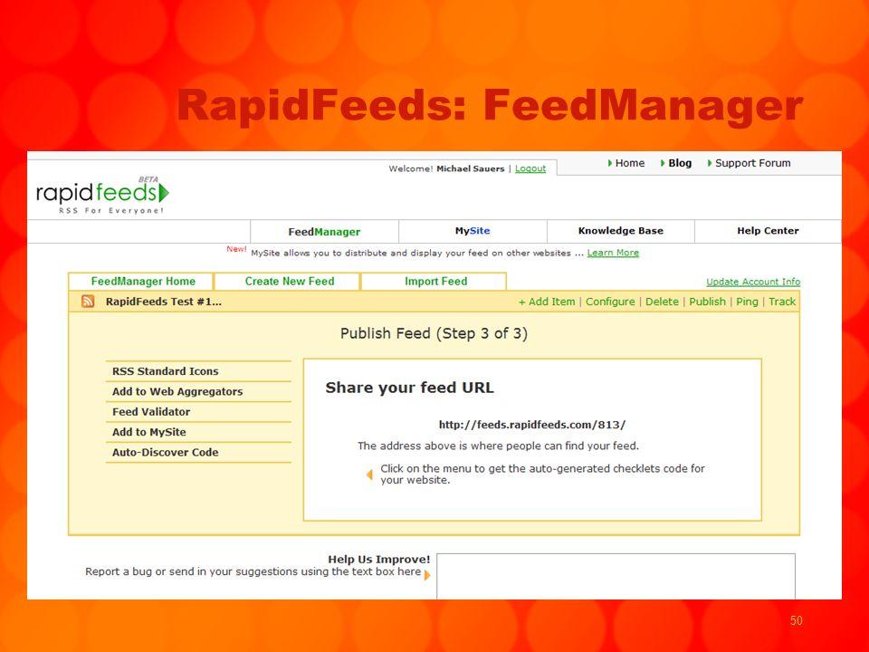 50 RapidFeeds: FeedManager
