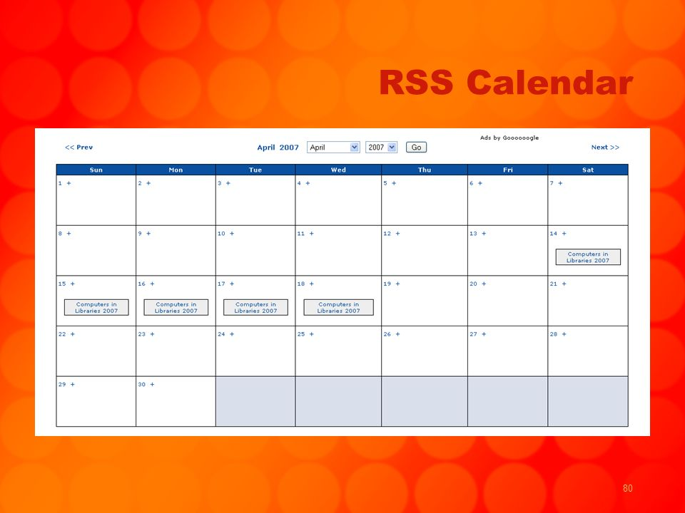 80 RSS Calendar