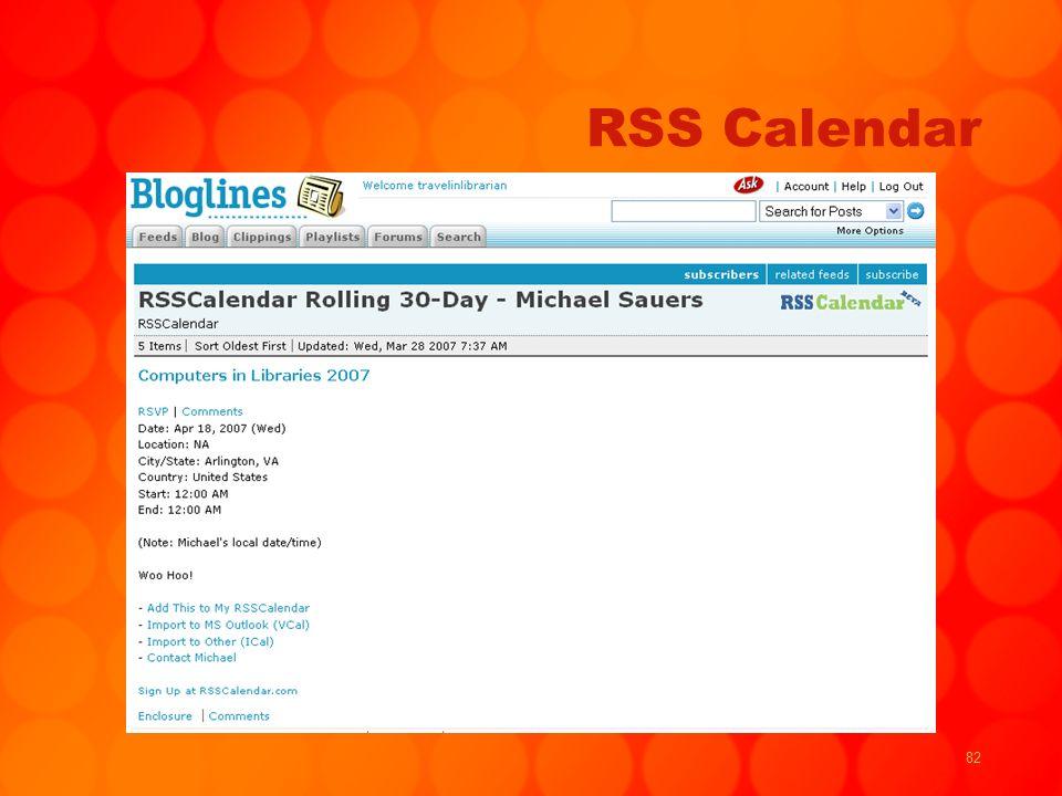 82 RSS Calendar