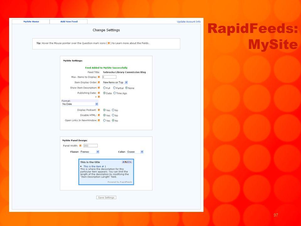 97 RapidFeeds: MySite
