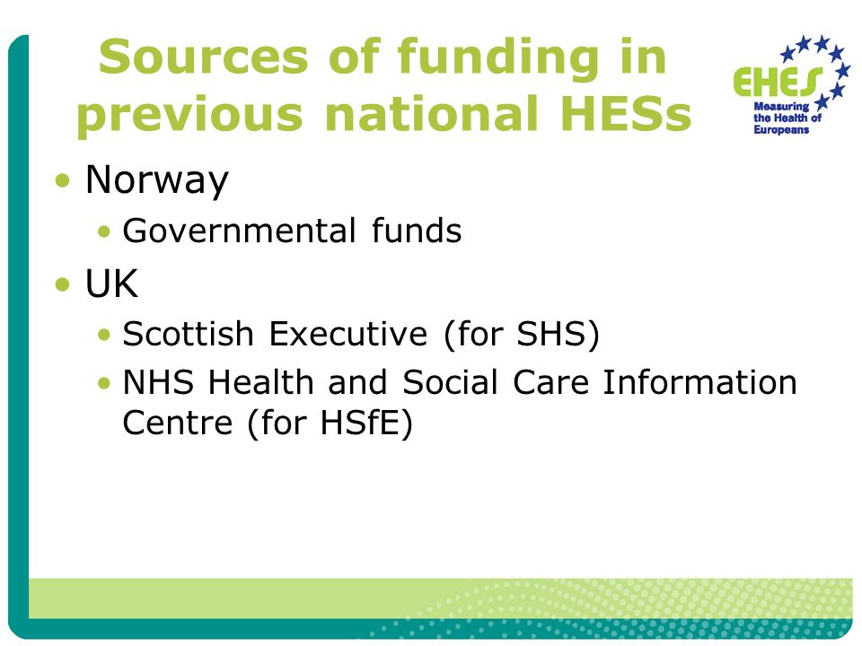 Sources of funding in previous national HESs Norway Governmental funds UK Scottish Executive (for SHS) NHS Health and Social Care Information Centre (for HSfE)