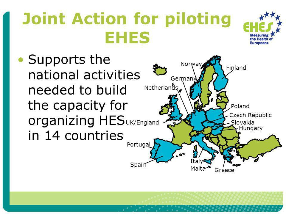 Joint Action for piloting EHES Supports the national activities needed to build the capacity for organizing HES in 14 countries
