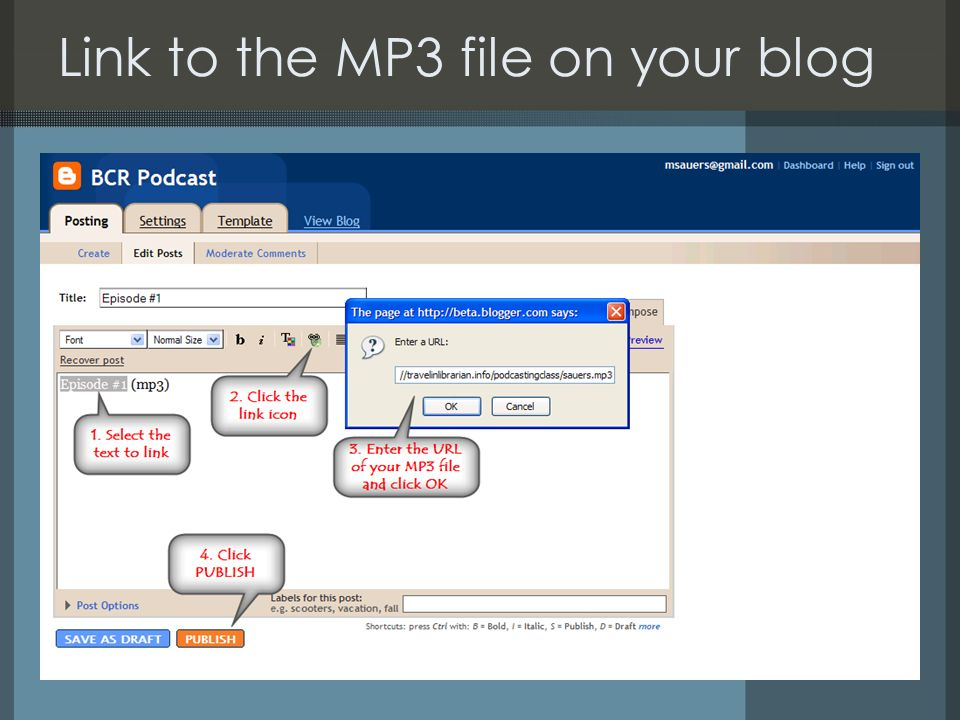 Link to the MP3 file on your blog