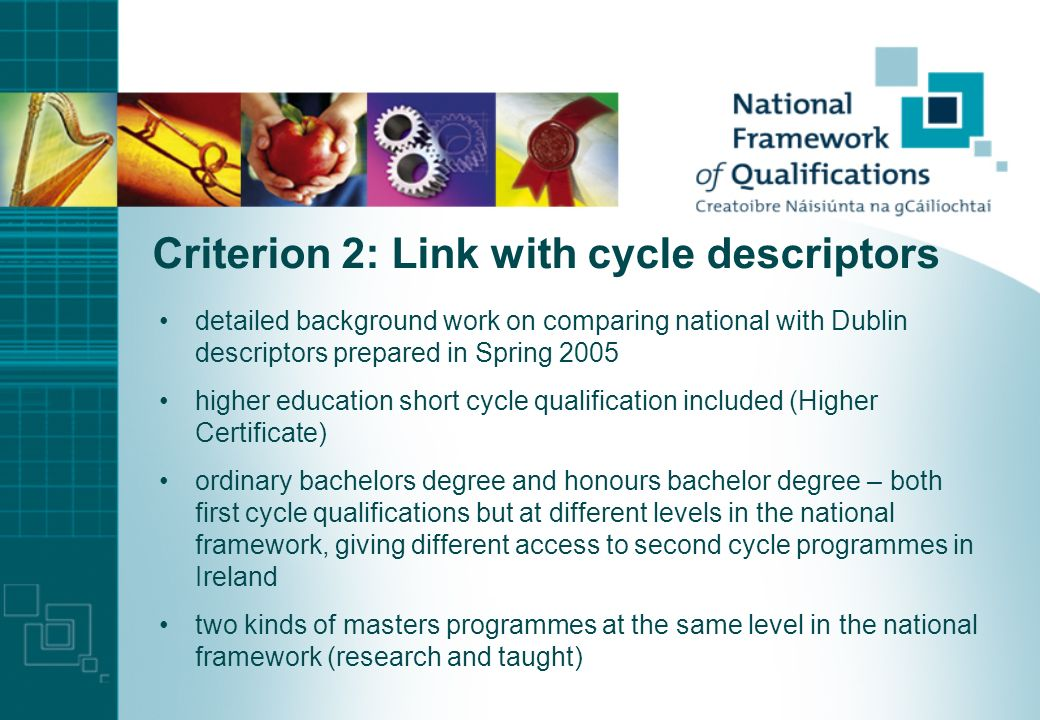 Criterion 1: Responsibility for framework National Qualifications Authority of Ireland established in 2001 with legal remit to develop a National Fram