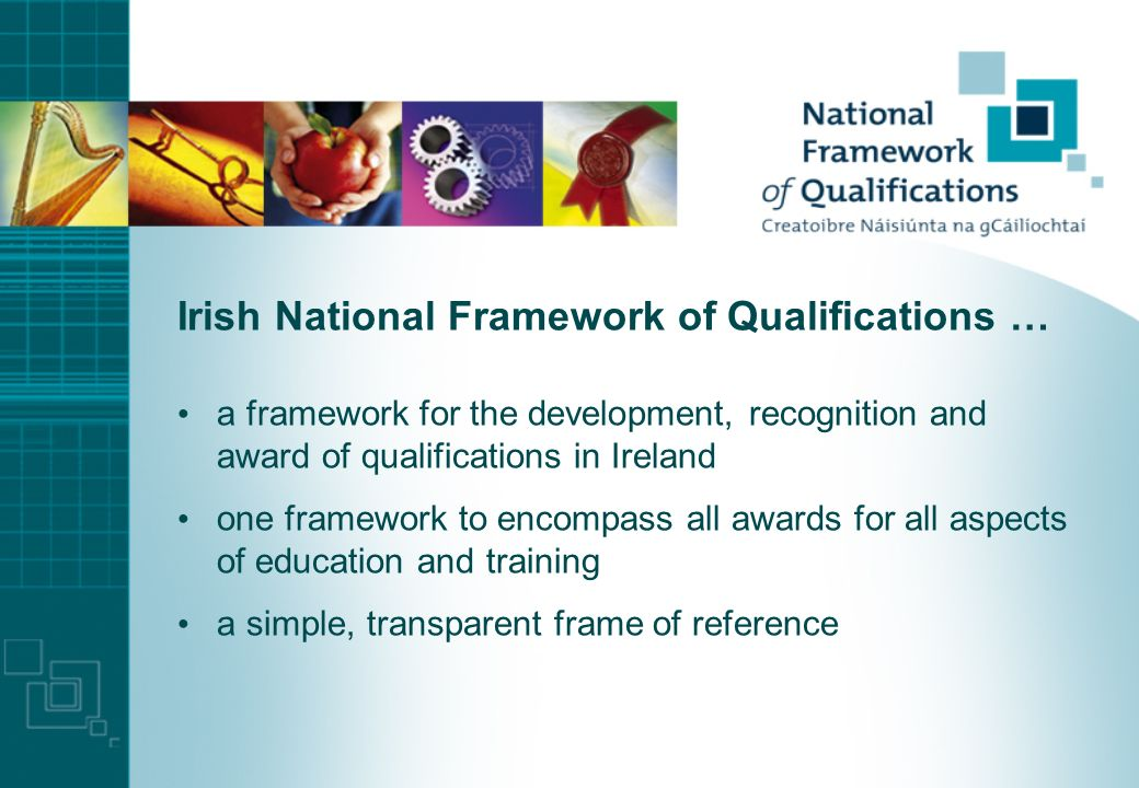 Irish context Bologna developments taking place in the context of a general reform of the qualifications system new legislation, new structures, new awards development of a National Framework of Qualifications