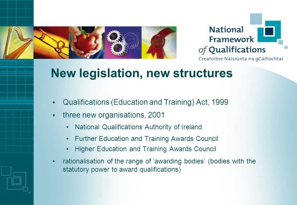 Irish National Framework of Qualifications … a framework for the development, recognition and award of qualifications in Ireland one framework to encompass all awards for all aspects of education and training a simple, transparent frame of reference