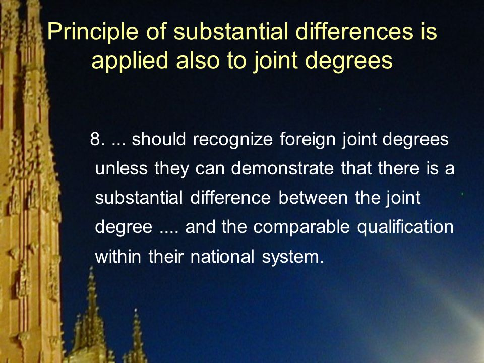 Principle of substantial differences is applied also to joint degrees 8....