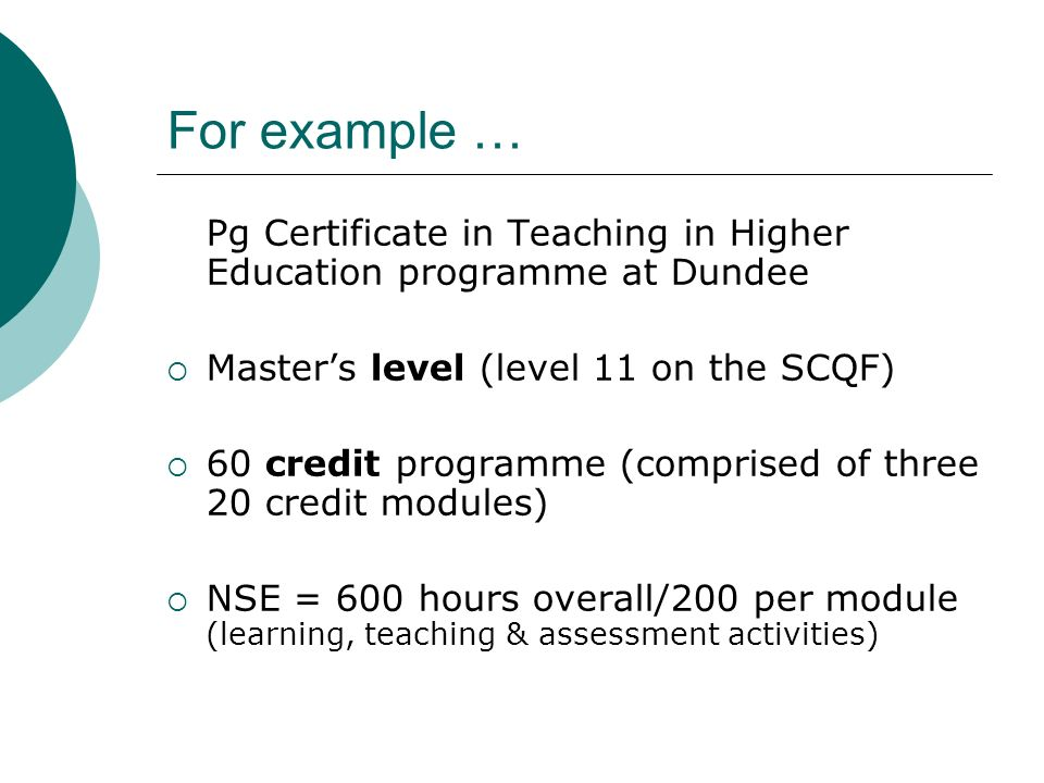 For example … Pg Certificate in Teaching in Higher Education programme at Dundee Masters level (level 11 on the SCQF) 60 credit programme (comprised o