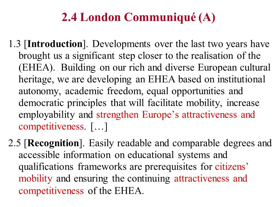 2.4 London Communiqué (A) 1.3 [Introduction].