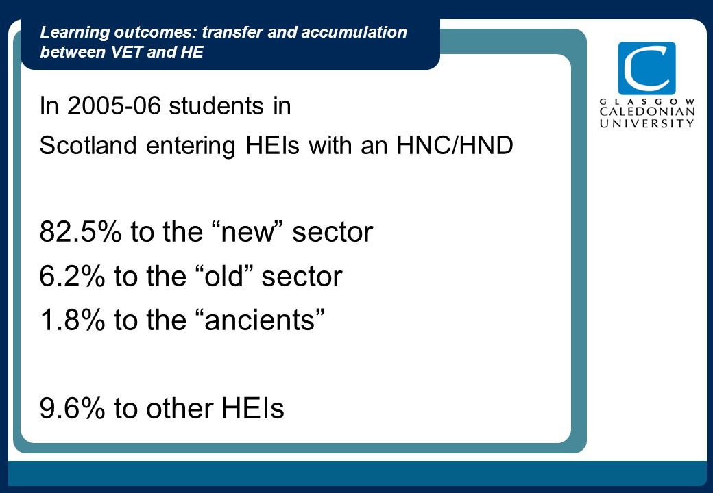 Learning outcomes: transfer and accumulation between VET and HE In 2005-06 students in Scotland entering HEIs with an HNC/HND 82.5% to the new sector 6.2% to the old sector 1.8% to the ancients 9.6% to other HEIs