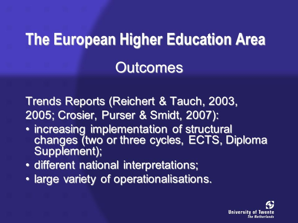 The European Higher Education Area Outcomes Trends Reports (Reichert & Tauch, 2003, 2005; Crosier, Purser & Smidt, 2007): increasing implementation of structural changes (two or three cycles, ECTS, Diploma Supplement);increasing implementation of structural changes (two or three cycles, ECTS, Diploma Supplement); different national interpretations;different national interpretations; large variety of operationalisations.large variety of operationalisations.
