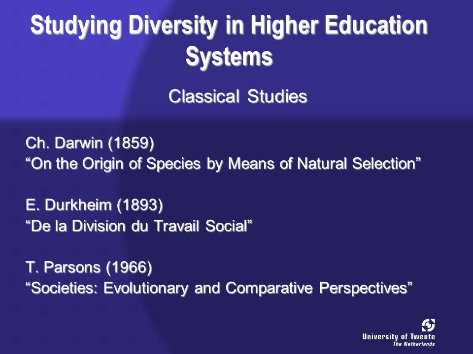 Studying Diversity in Higher Education Systems Classical Studies Ch.
