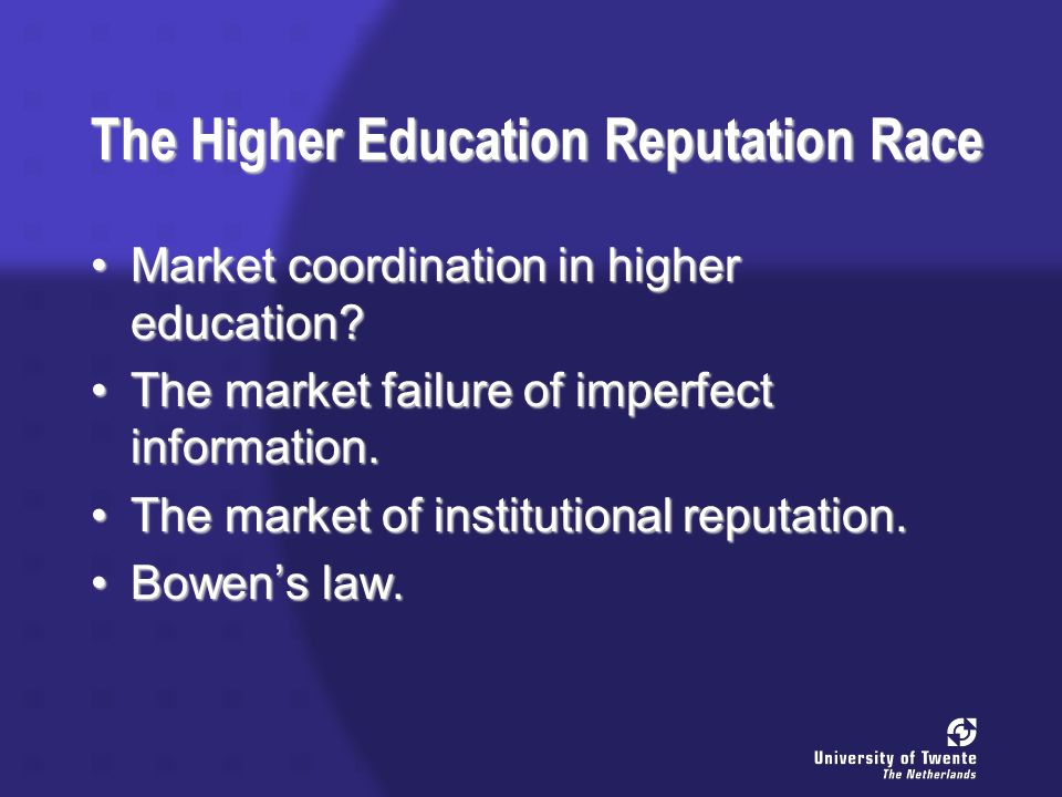 The Higher Education Reputation Race Market coordination in higher education Market coordination in higher education.
