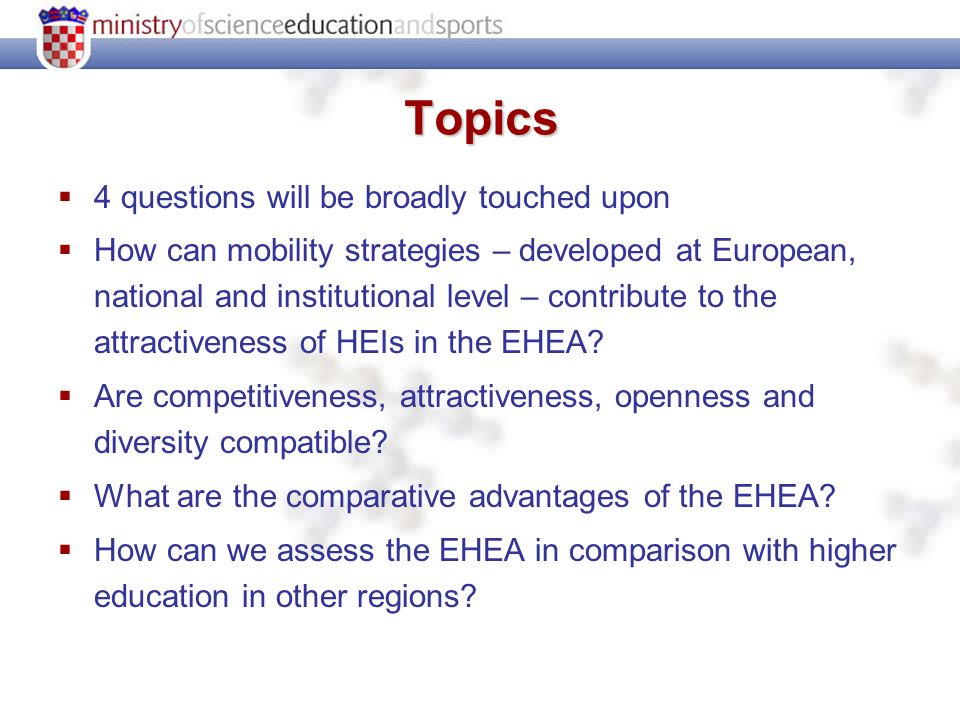 Topics 4 questions will be broadly touched upon How can mobility strategies – developed at European, national and institutional level – contribute to the attractiveness of HEIs in the EHEA.