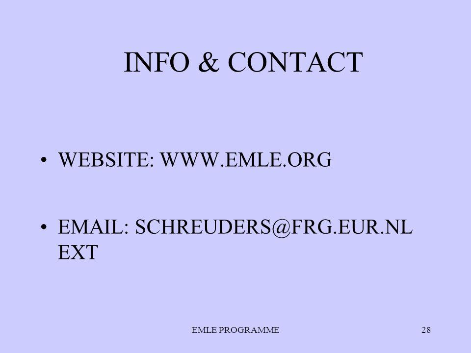 EMLE PROGRAMME28 INFO & CONTACT WEBSITE: WWW.EMLE.ORG EMAIL: SCHREUDERS@FRG.EUR.NL EXT