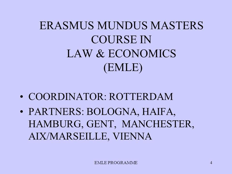 EMLE PROGRAMME4 ERASMUS MUNDUS MASTERS COURSE IN LAW & ECONOMICS (EMLE) COORDINATOR: ROTTERDAM PARTNERS: BOLOGNA, HAIFA, HAMBURG, GENT, MANCHESTER, AIX/MARSEILLE, VIENNA