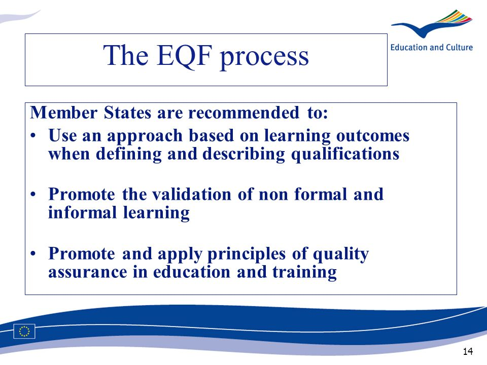 14 The EQF process Member States are recommended to: Use an approach based on learning outcomes when defining and describing qualifications Promote th