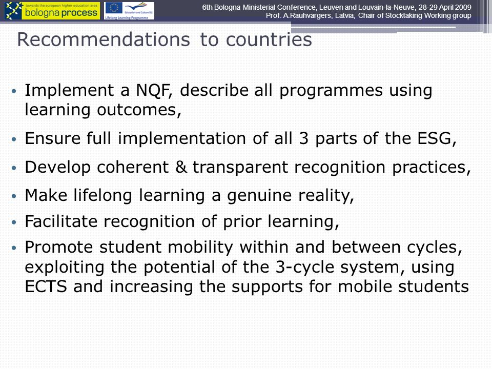 Recommendations to countries Implement a NQF, describe all programmes using learning outcomes, Ensure full implementation of all 3 parts of the ESG, Develop coherent & transparent recognition practices, Make lifelong learning a genuine reality, Facilitate recognition of prior learning, Promote student mobility within and between cycles, exploiting the potential of the 3-cycle system, using ECTS and increasing the supports for mobile students 6th Bologna Ministerial Conference, Leuven and Louvain-la-Neuve, April 2009 Prof.