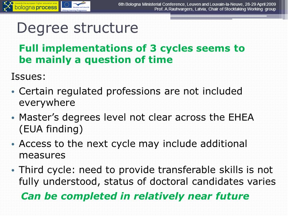 Degree structure Full implementations of 3 cycles seems to be mainly a question of time Issues: Certain regulated professions are not included everywhere Masters degrees level not clear across the EHEA (EUA finding) Access to the next cycle may include additional measures Third cycle: need to provide transferable skills is not fully understood, status of doctoral candidates varies Can be completed in relatively near future 6th Bologna Ministerial Conference, Leuven and Louvain-la-Neuve, April 2009 Prof.