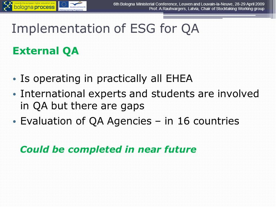 Implementation of ESG for QA External QA Is operating in practically all EHEA International experts and students are involved in QA but there are gaps Evaluation of QA Agencies – in 16 countries Could be completed in near future 6th Bologna Ministerial Conference, Leuven and Louvain-la-Neuve, April 2009 Prof.