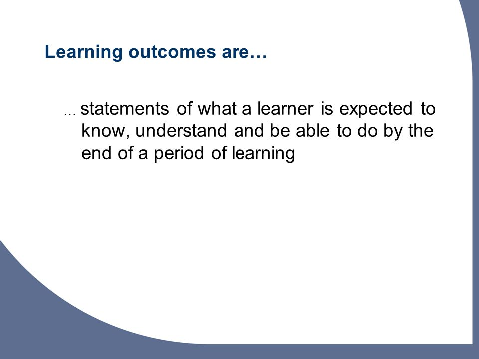 Why learning outcomes are important for staff.