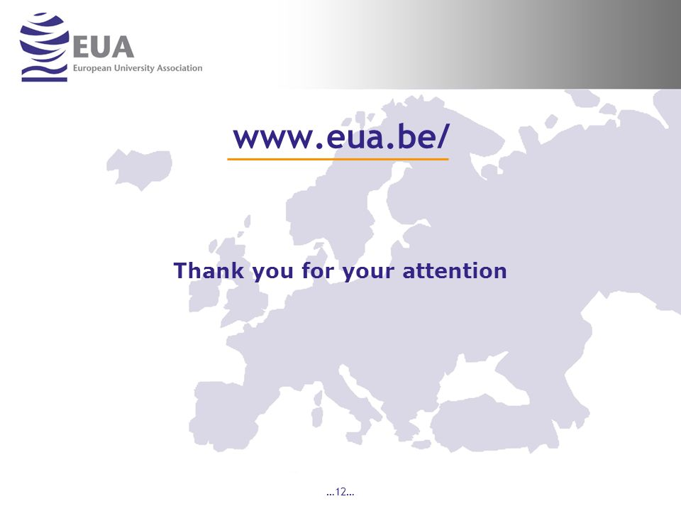 …12… www.eua.be/ Thank you for your attention