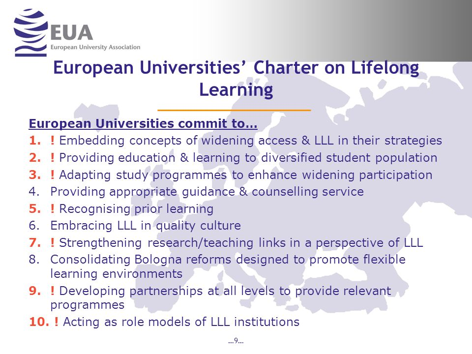 …9… European Universities Charter on Lifelong Learning European Universities commit to… 1..