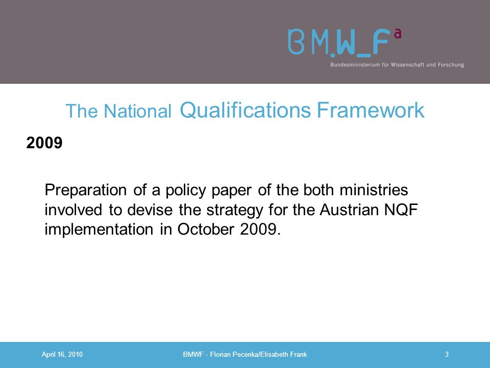 April 16, 2010BMWF - Florian Pecenka/Elisabeth Frank2 The National Qualifications Framework (NQF) 2008 –Public consultation process until 11/2008, all