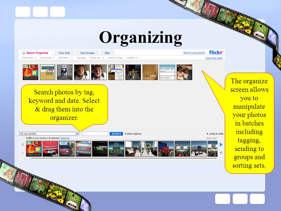 Organizing Search photos by tag, keyword and date.
