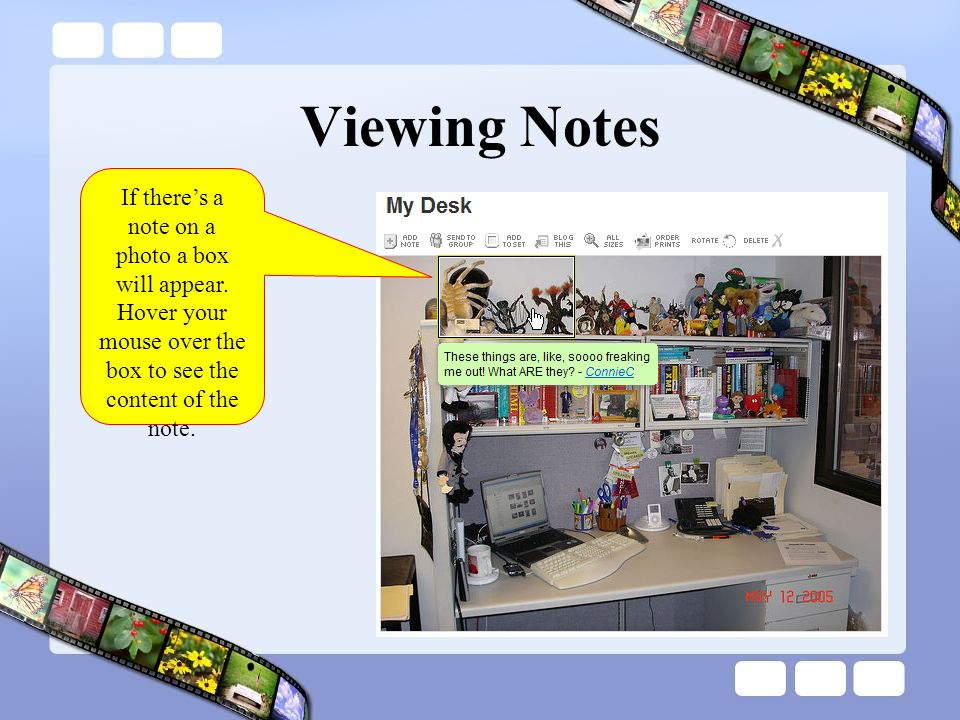 Viewing Notes If theres a note on a photo a box will appear.
