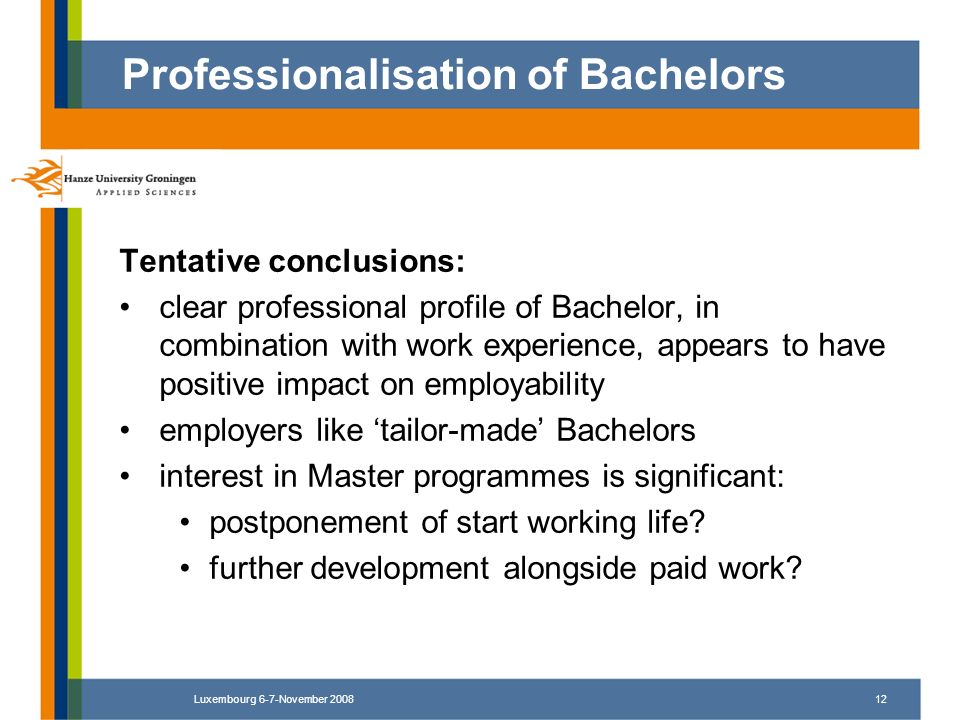 Luxembourg 6-7-November 200812 Tentative conclusions: clear professional profile of Bachelor, in combination with work experience, appears to have pos