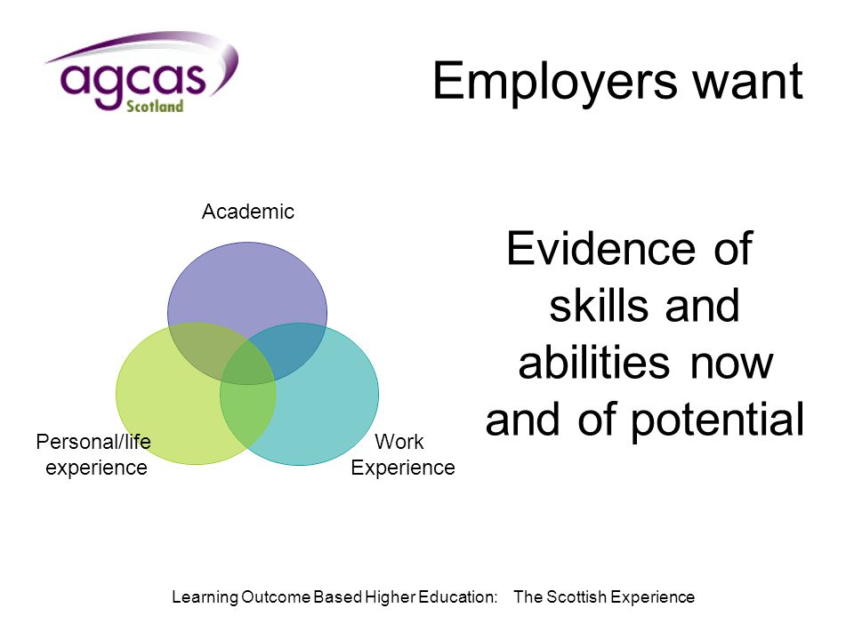 Learning Outcome Based Higher Education: The Scottish Experience Employers want Evidence of skills and abilities now and of potential Academic Work Experience Personal/life experience