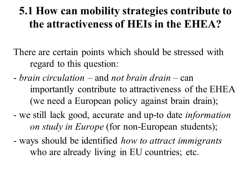 5.1 How can mobility strategies contribute to the attractiveness of HEIs in the EHEA.