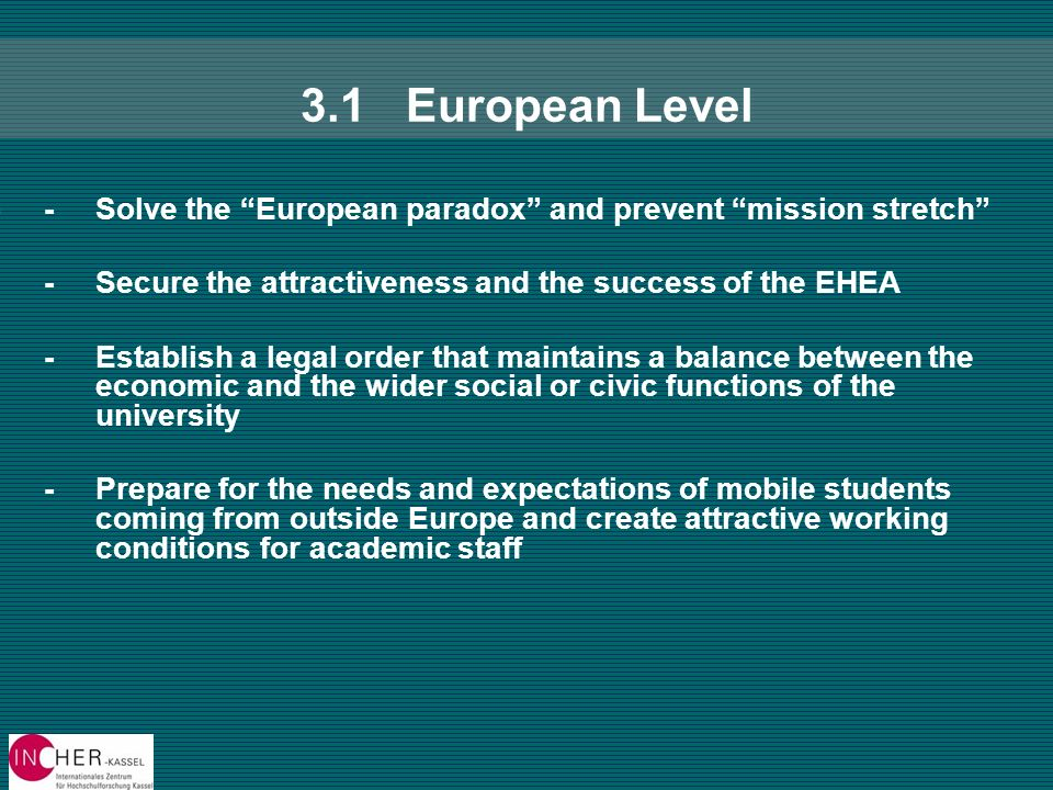 3.1European Level --Solve the European paradox and prevent mission stretch --Secure the attractiveness and the success of the EHEA --Establish a legal