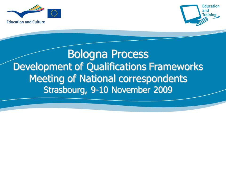 ecdc.europa.eu Bologna Process Development of Qualifications Frameworks Meeting of National correspondents Strasbourg, 9-10 November 2009