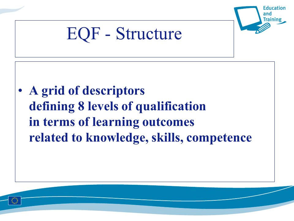 EQF - Structure A grid of descriptors defining 8 levels of qualification in terms of learning outcomes related to knowledge, skills, competence
