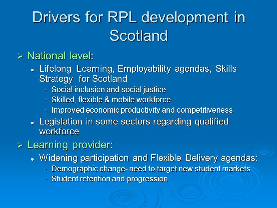 Drivers for RPL development in Scotland National level: National level: Lifelong Learning, Employability agendas, Skills Strategy for Scotland Lifelon