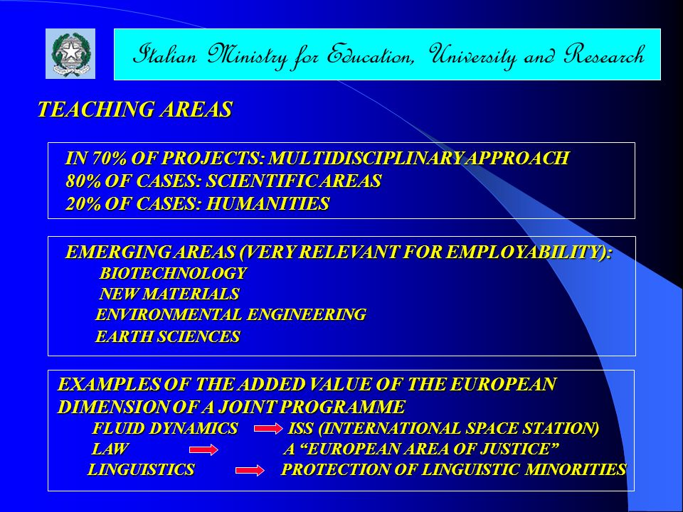 Italian Ministry for Education, University and Research TEACHING AREAS EMERGING AREAS (VERY RELEVANT FOR EMPLOYABILITY): BIOTECHNOLOGY BIOTECHNOLOGY N