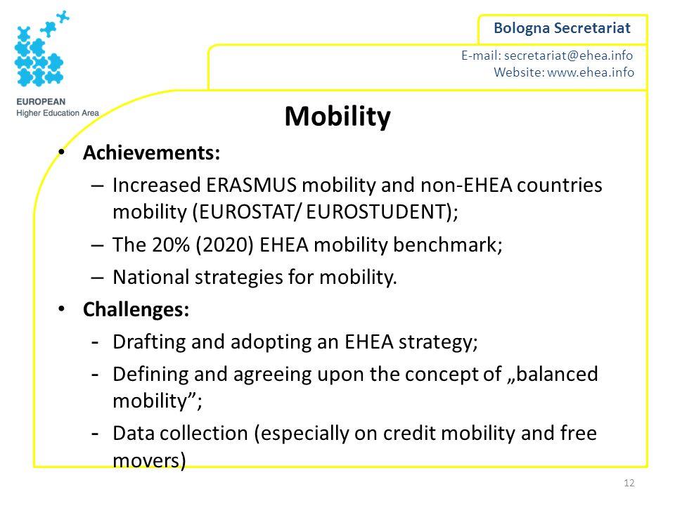 E-mail: secretariat@ehea.info Website: www.ehea.info Bologna Secretariat Mobility Achievements: – Increased ERASMUS mobility and non-EHEA countries mo