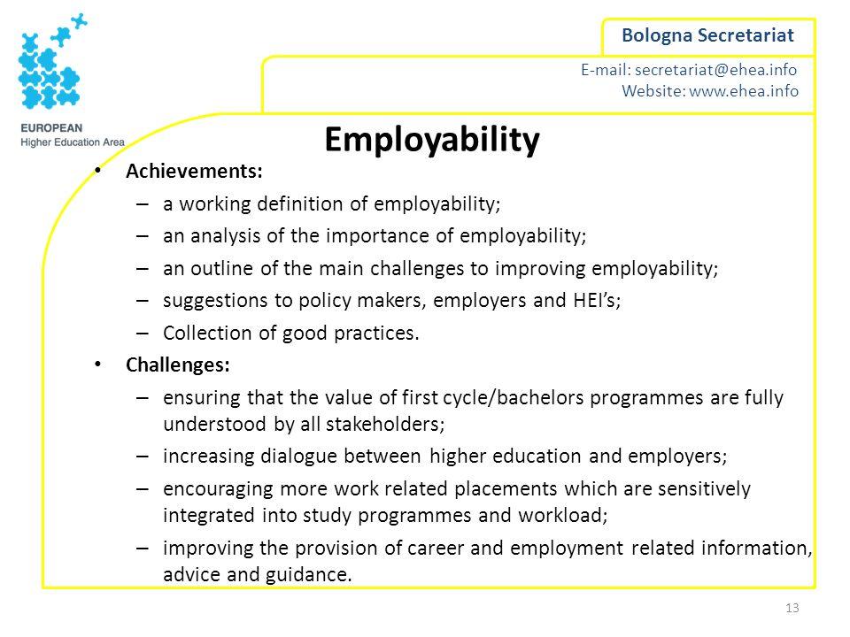 E-mail: secretariat@ehea.info Website: www.ehea.info Bologna Secretariat Employability Achievements: – a working definition of employability; – an ana