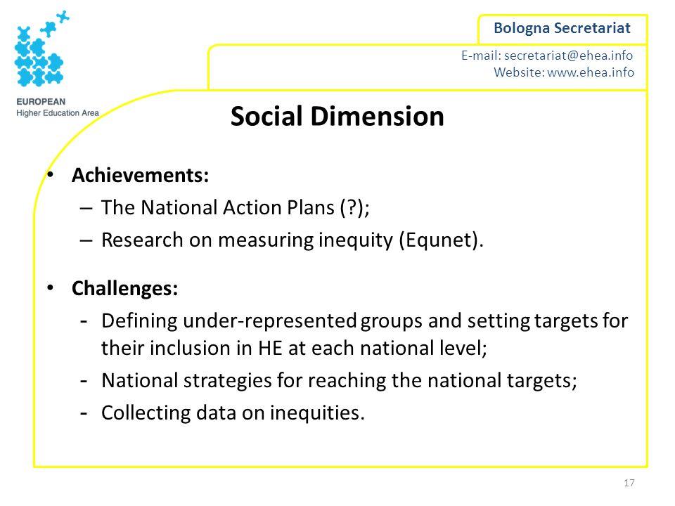 E-mail: secretariat@ehea.info Website: www.ehea.info Bologna Secretariat Social Dimension Achievements: – The National Action Plans (?); – Research on