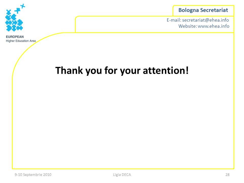 E-mail: secretariat@ehea.info Website: www.ehea.info Bologna Secretariat Thank you for your attention! Ligia DECA289-10 Septembrie 2010