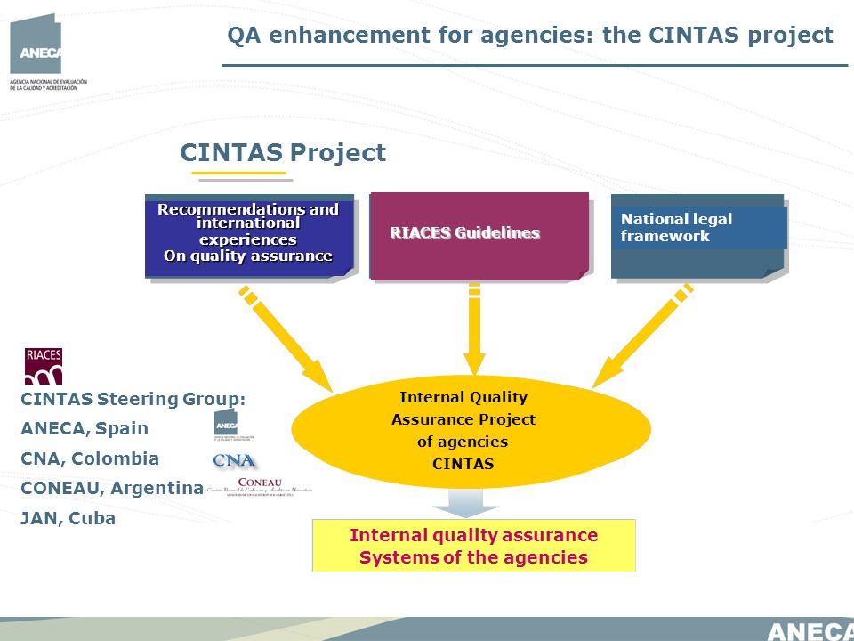 CINTAS Project RIACES Guidelines Internal quality assurance Systems of the agencies Recommendations and international experiences On quality assurance QA enhancement for agencies: the CINTAS project National legal framework Internal Quality Assurance Project of agencies CINTAS CINTAS Steering Group: ANECA, Spain CNA, Colombia CONEAU, Argentina JAN, Cuba