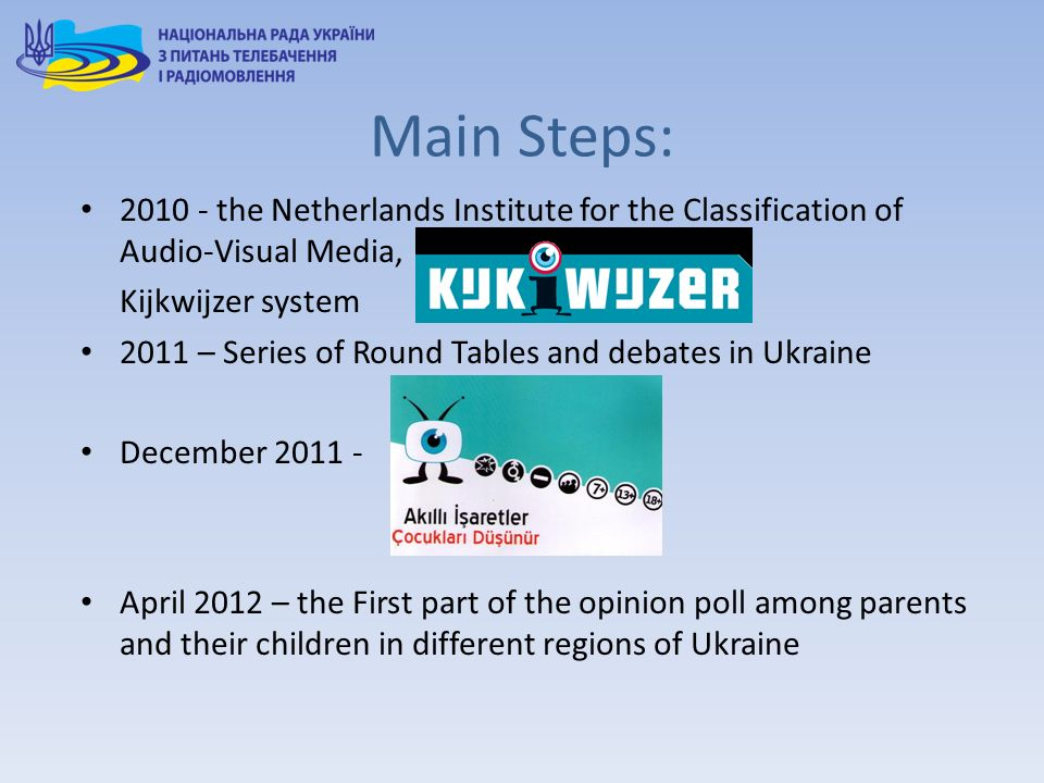 Main Steps: 2010 - the Netherlands Institute for the Classification of Audio-Visual Media, Kijkwijzer system 2011 – Series of Round Tables and debates in Ukraine December 2011 - April 2012 – the First part of the opinion poll among parents and their children in different regions of Ukraine