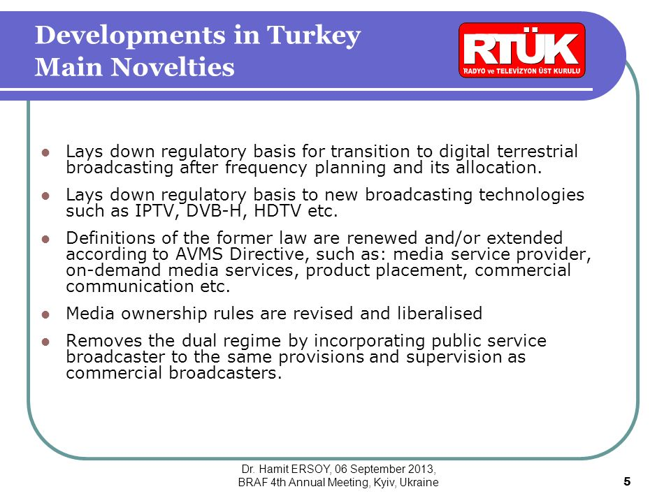 Lays down regulatory basis for transition to digital terrestrial broadcasting after frequency planning and its allocation.