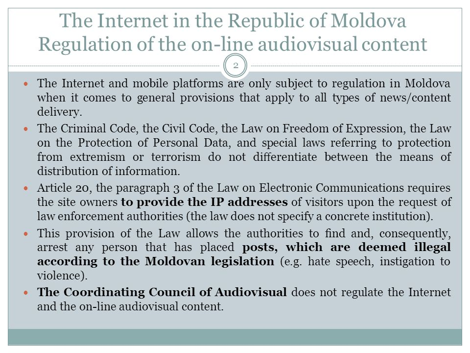 Online At the end of 2012 there were around 1,543,700 Internet users in Moldova, with the overall population of 3,559,500 this means that the penetration level is 43%.