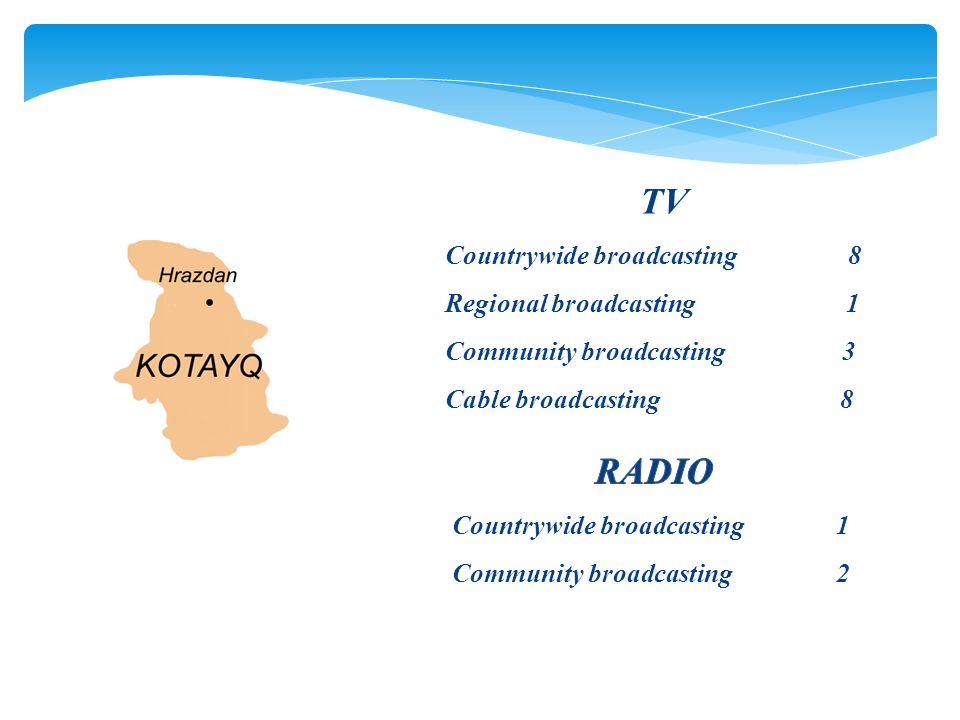 TV Countrywide broadcasting 8 Regional broadcasting 1 Community broadcasting 3 Cable broadcasting 8
