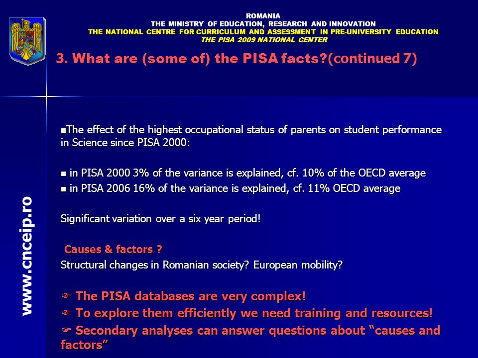 The effect of the highest occupational status of parents on student performance in Science since PISA 2000: The effect of the highest occupational sta